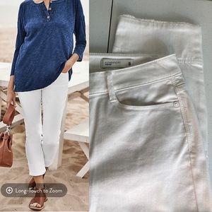 J. Jill Authentic Fit Cuffed Crop White Jeans